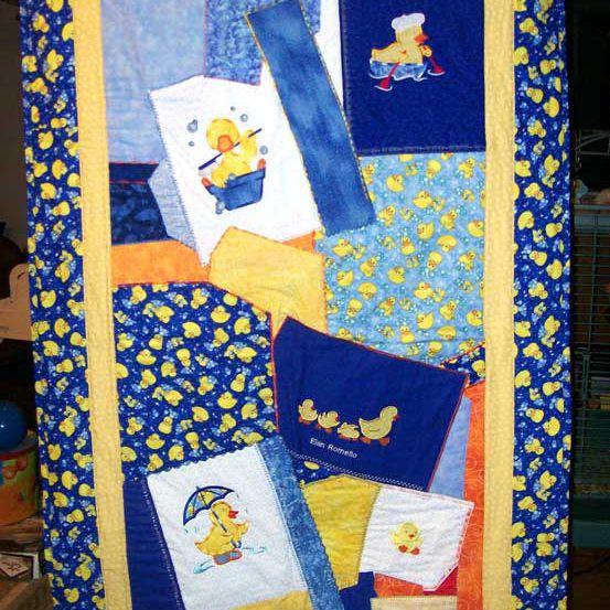 Blue rubber ducky quilt.