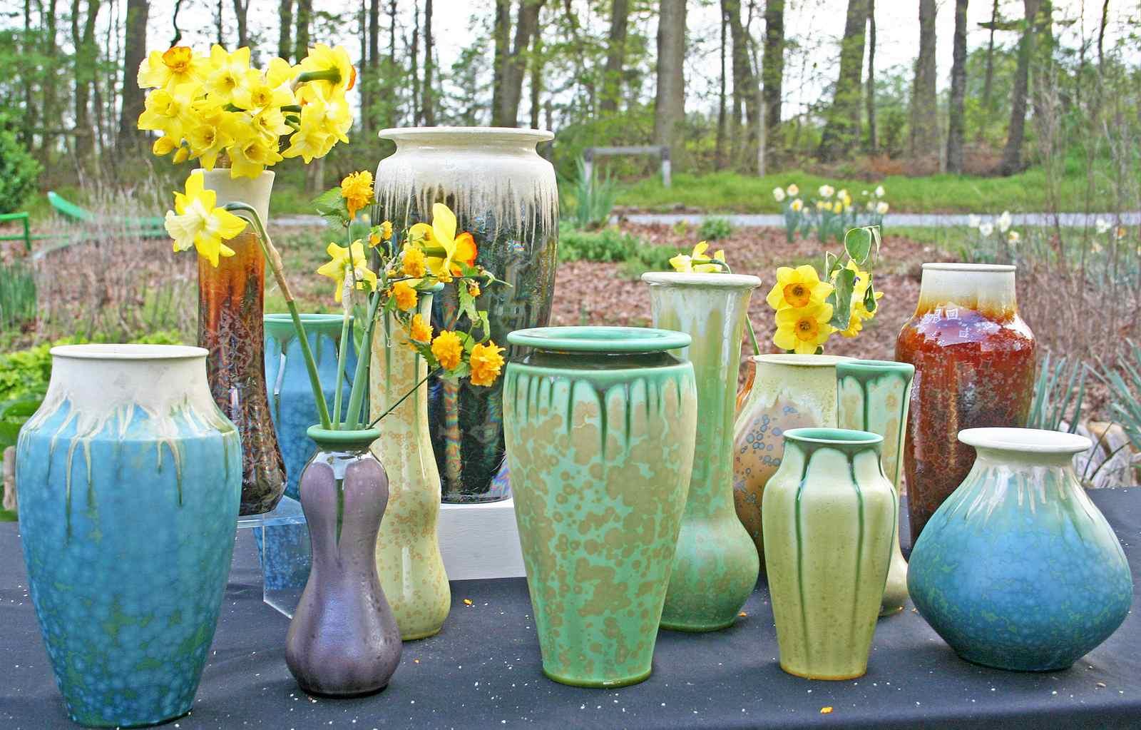 multiple colorful crystalline glaze vases