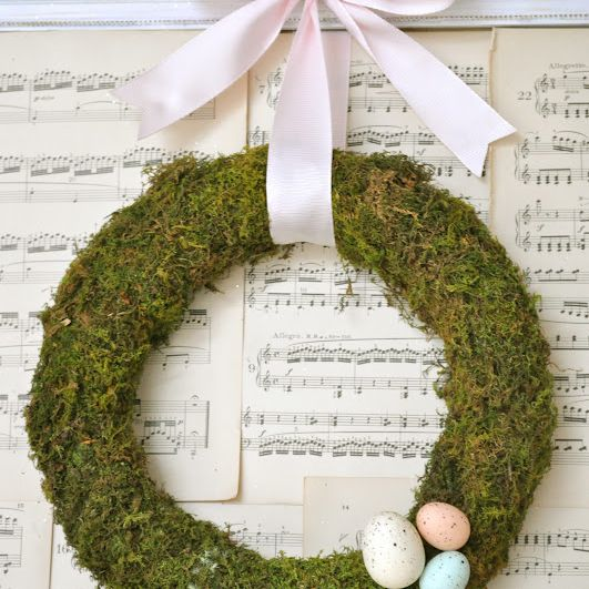 DIY Easter Eggs Moss Wreath