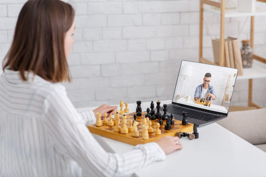 Online chess at home.