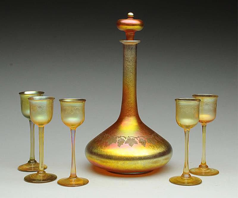 Tiffany Favrile Decanter (signed L.C. Tiffany Favrile) with Five Cordial stems