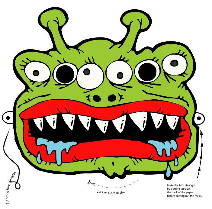 A 6-eyed green monster mask