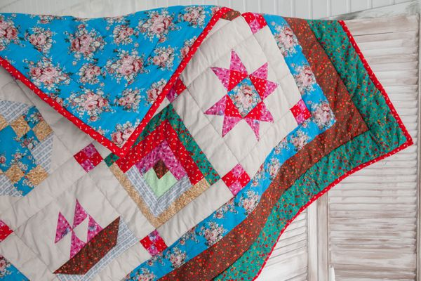Part of patchwork quilt as background. Handmade