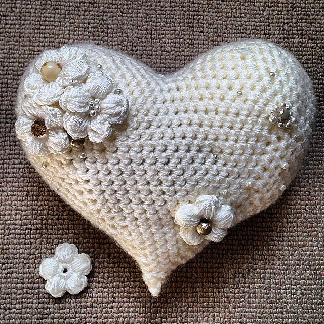 Crochet Flower Heart