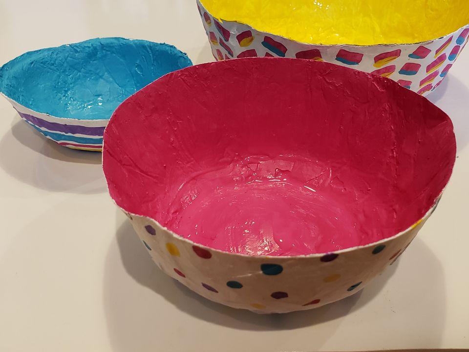 Painted papier-mâché bowls