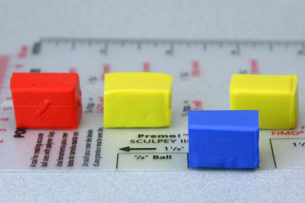Polymer clay amounts measured using a polymer clay template.