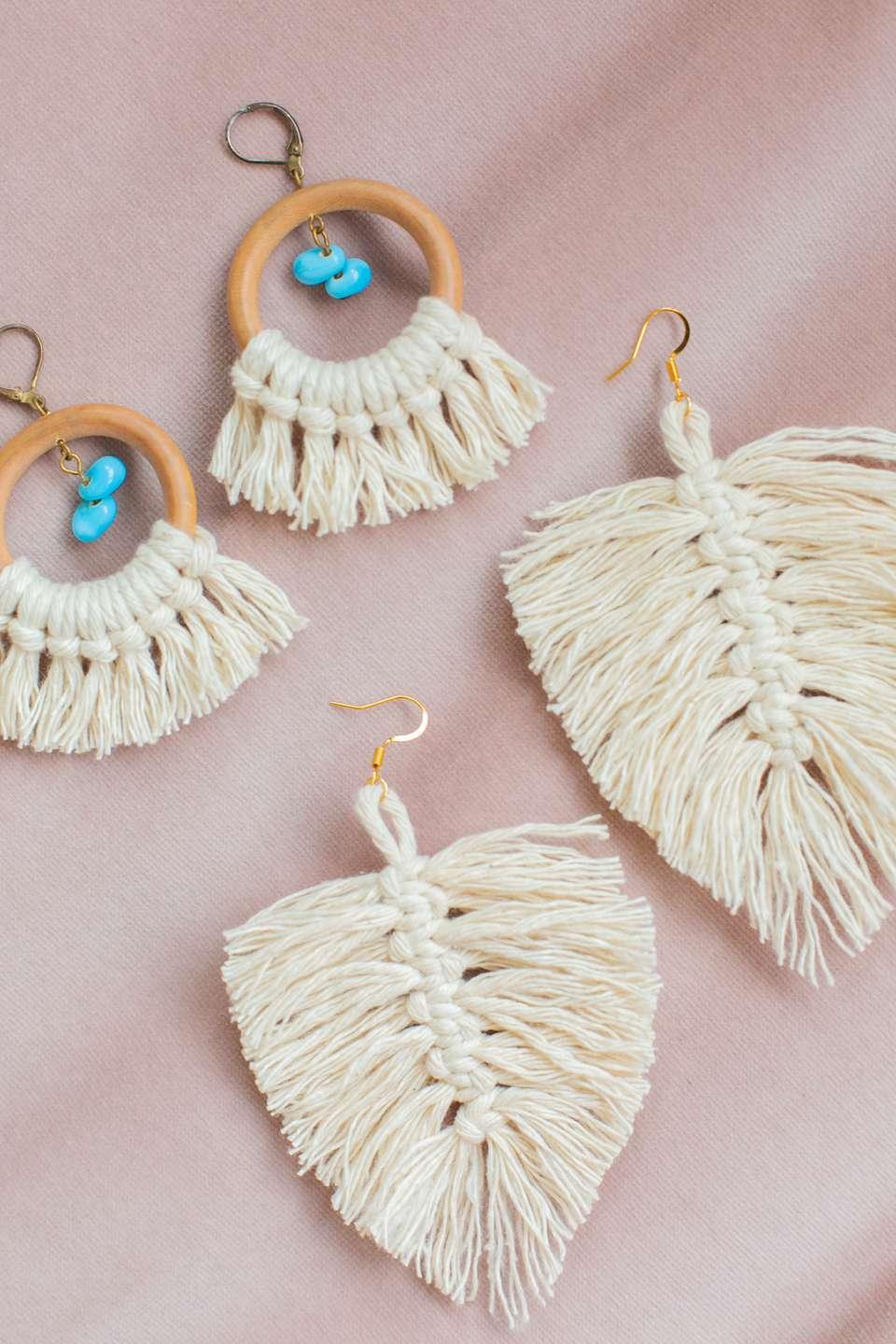 DIY macrame earrings