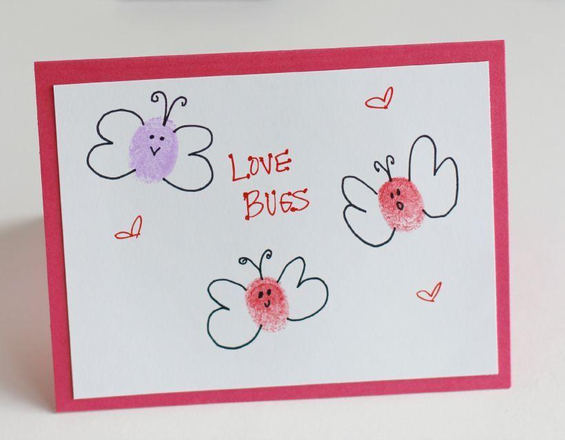 diy thumbprint love bug cards