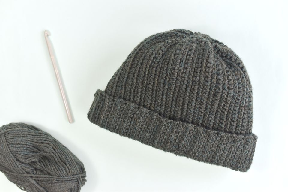 Rib Knit Crochet Hat Free Pattern