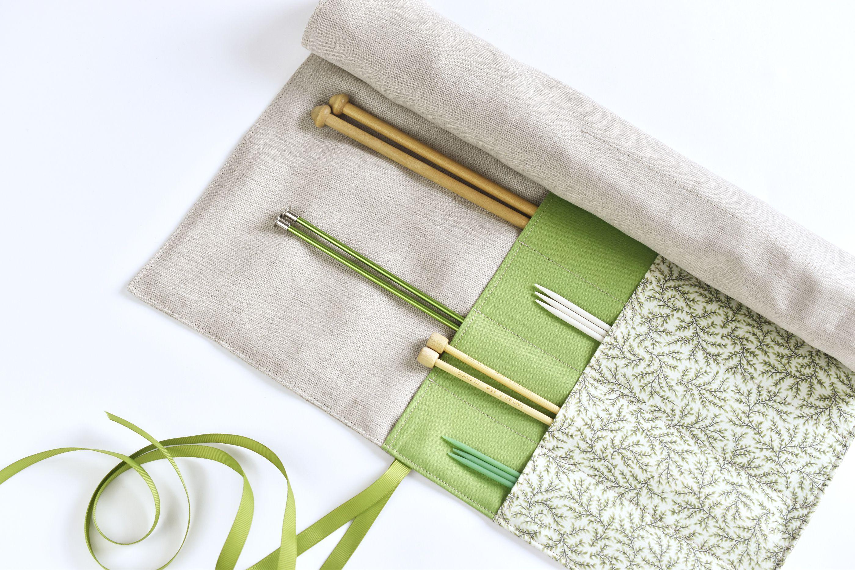 DIY roll-up knitting needle case