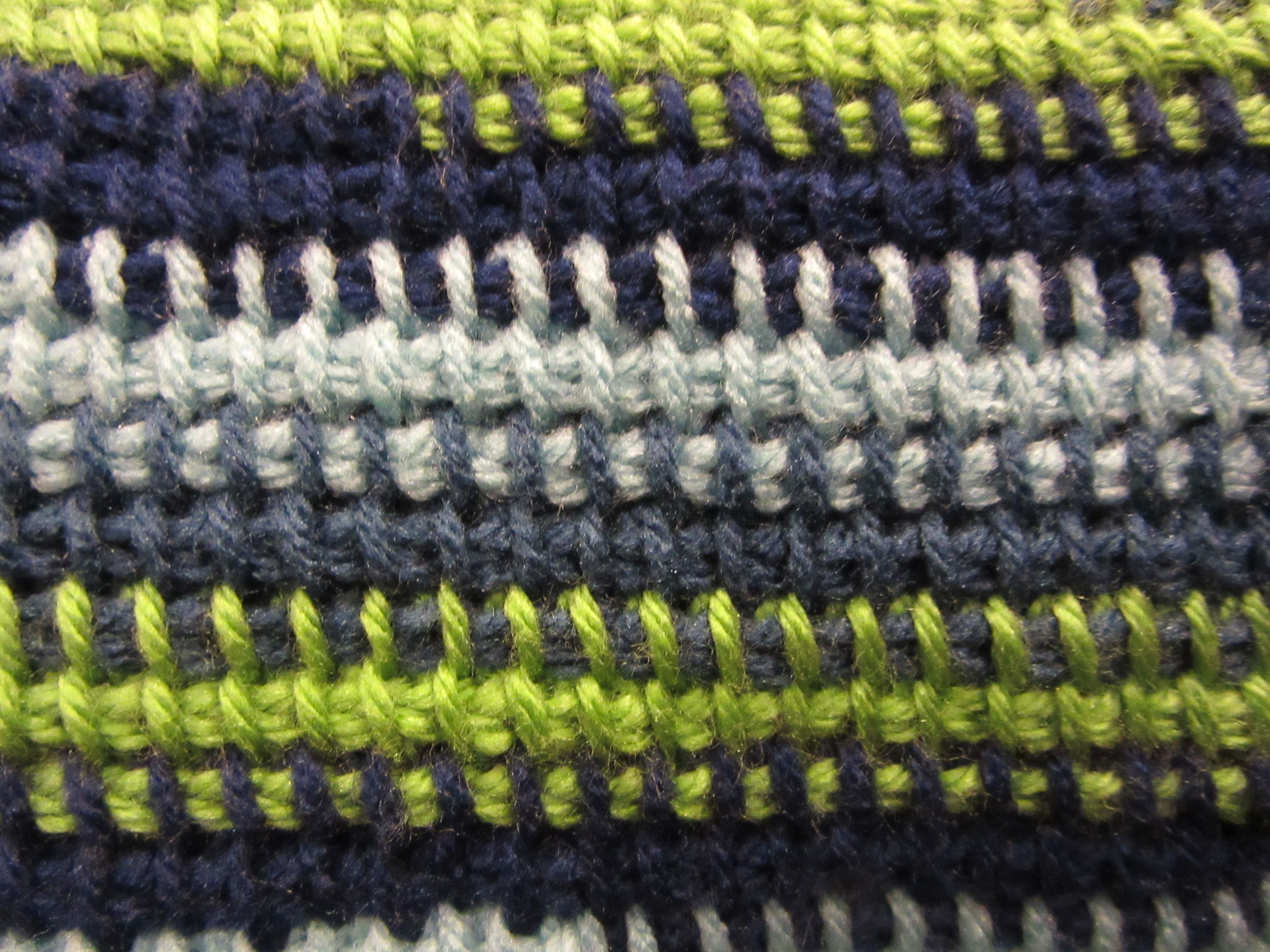 Crocheted Afghan Stitch Pattern in Multiple Colors Close-up