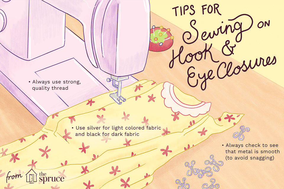 illustration of tips for sewing hook-and-eye closures