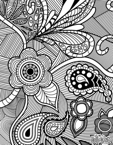 An Adult Coloring Page Featuring Flowers And Paisleys Hello Kids