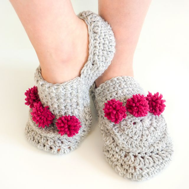 Crochet Slippers with Pom Poms