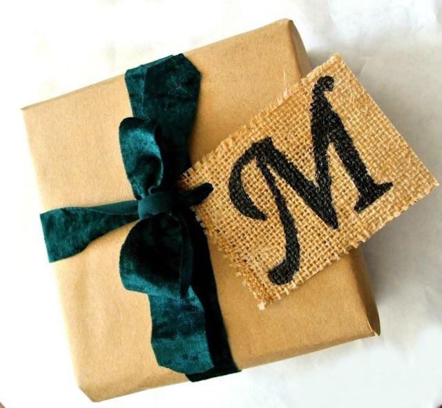 Monogram burlap gift tag