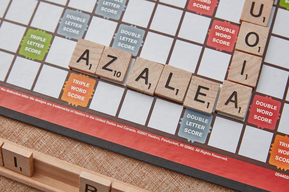 azalea being played on a scrabble board
