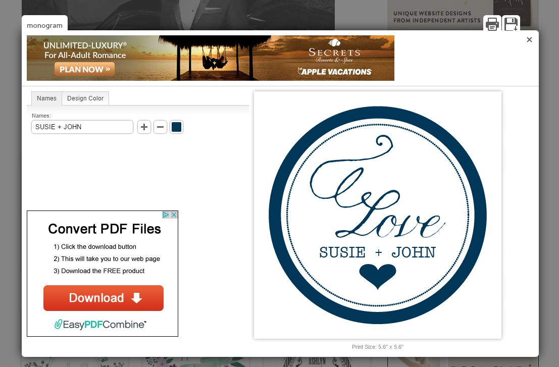 A Screenshot Of The Wedding S Monogram Generator