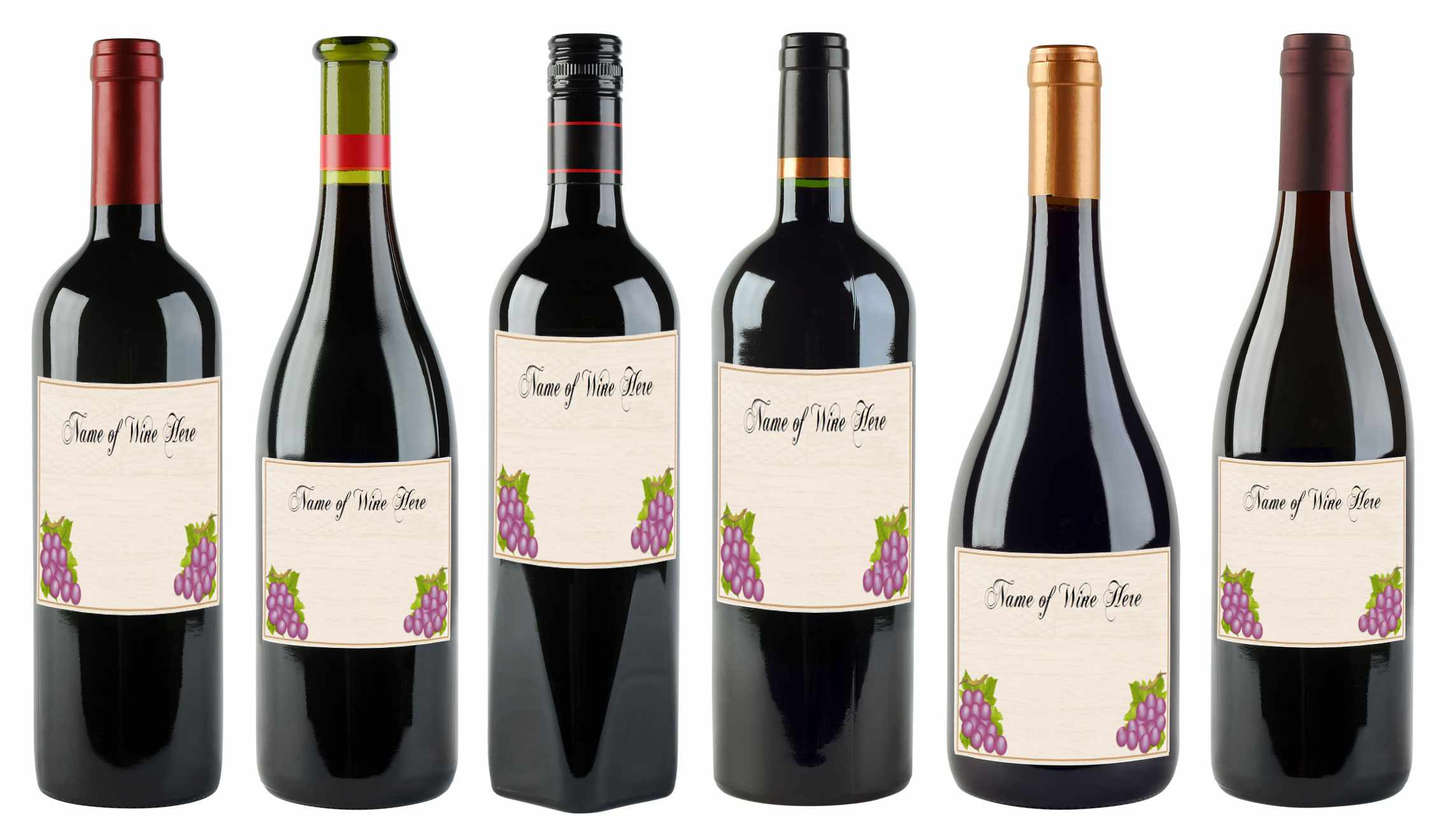 6 bottles of wine in various shapes