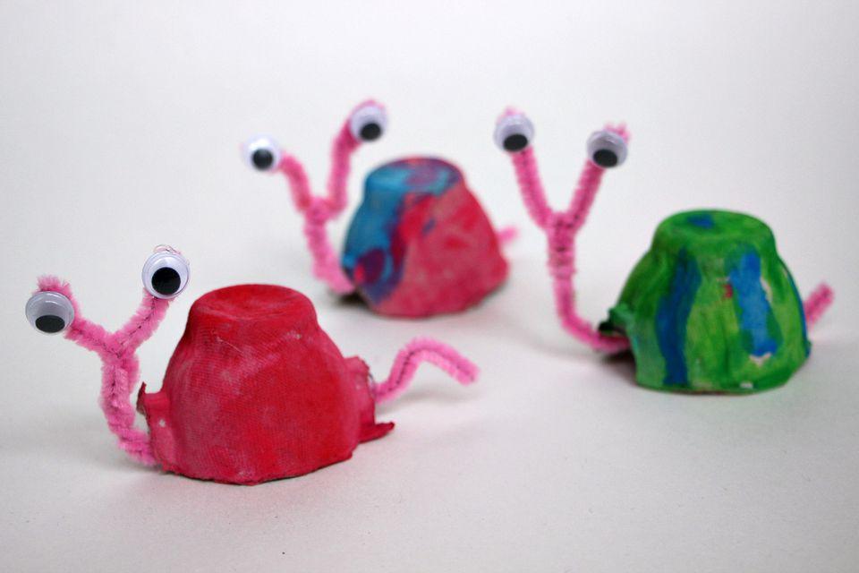Egg carton snail craft