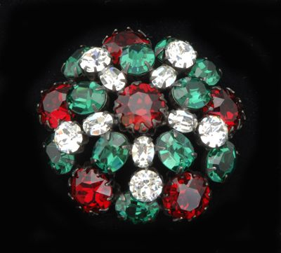 Schreiner Brooch with Red & Green Rhinestones