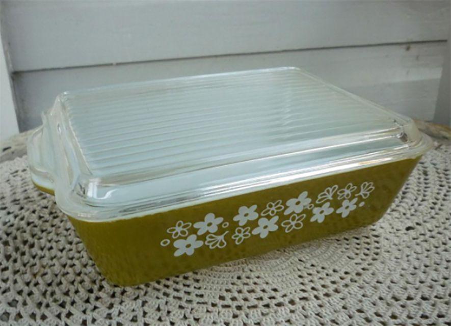 Crazy Daisy or Spring Blossom Green Refrigerator Dish