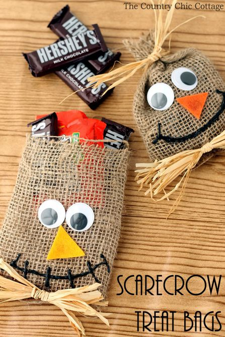 DIY scarecrow Halloween treat bags