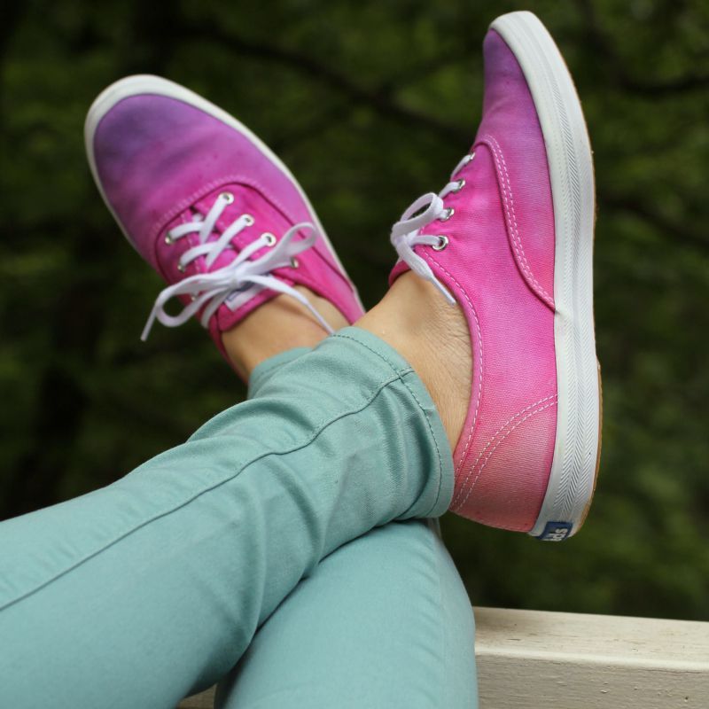 Pink and purple tie dye shoes