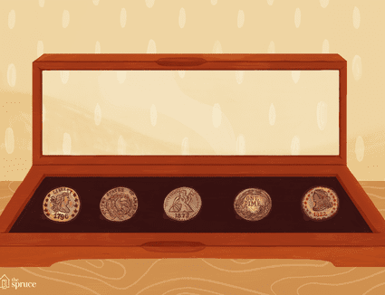 An illustration of dimes in a display box