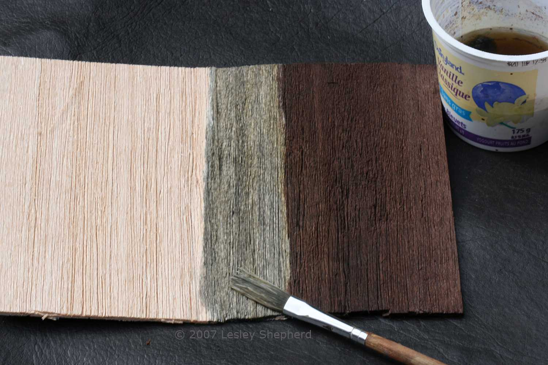 Raw balsa wood, silver grey, and deep brown balsa wood created with vinegar/steel wool solutions.