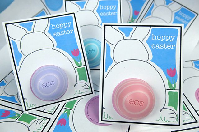 Easter bunny card with an EOS lip balm