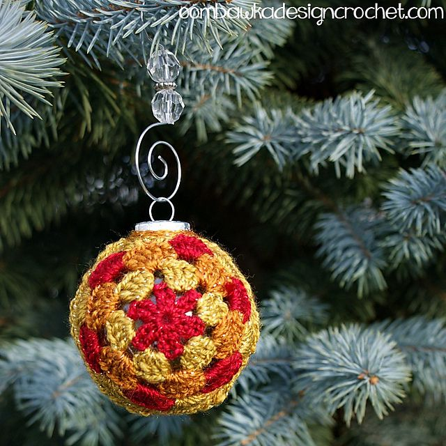 Crochet Christmas Ornament Cover Free Pattern - 12 Cute Free Christmas Ornament Crochet Patterns