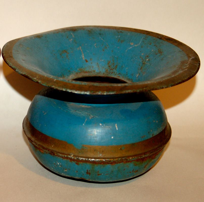 Blue ad brown toleware vase