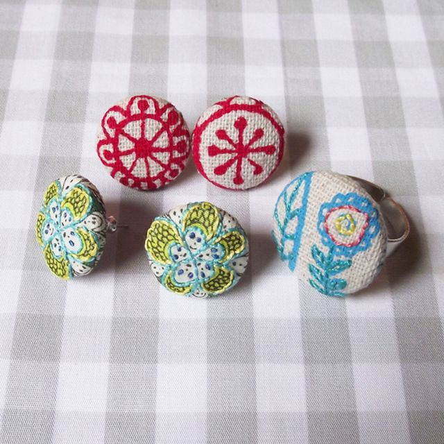 DIY Embroidered Button Earrings