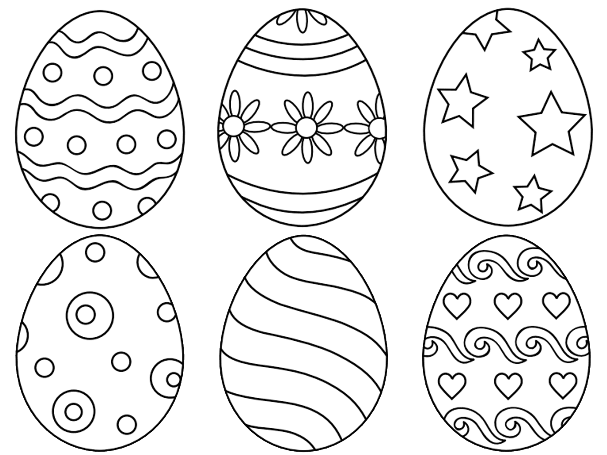 Easter Egg Coloring Pages At First Palette Six Eggs With Various Designs