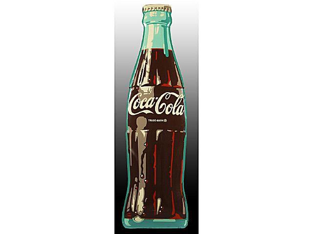 Ca. 1954 Die-Cut Tin Coca-Cola Bottle Sign