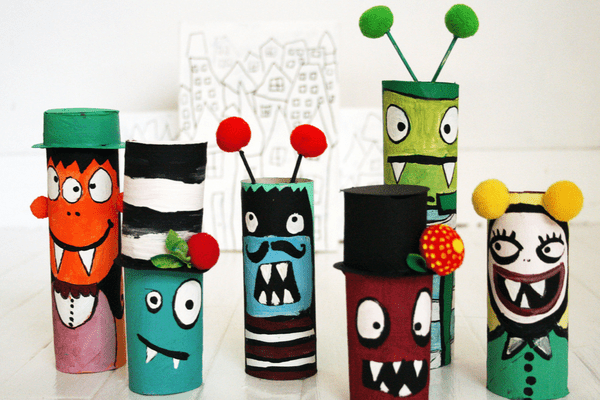 Monster DIYs made out of paper rolls