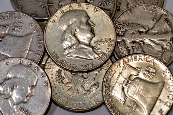 United States Franklin half dollars.
