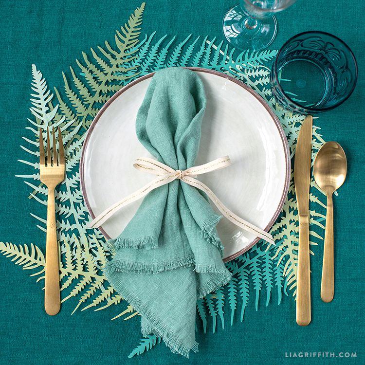 diy fern paper placemats