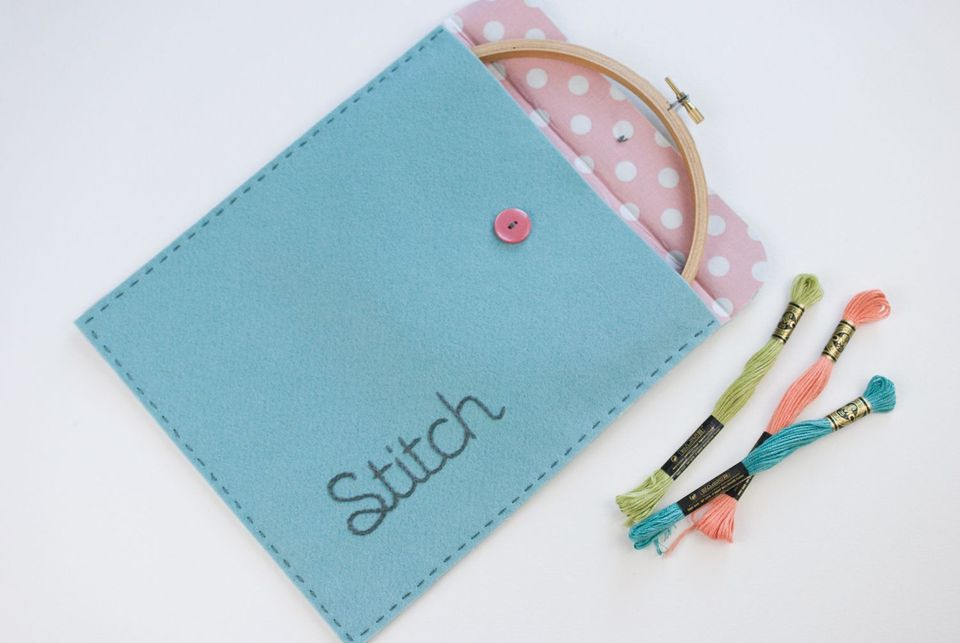 DIY embroidery pouch