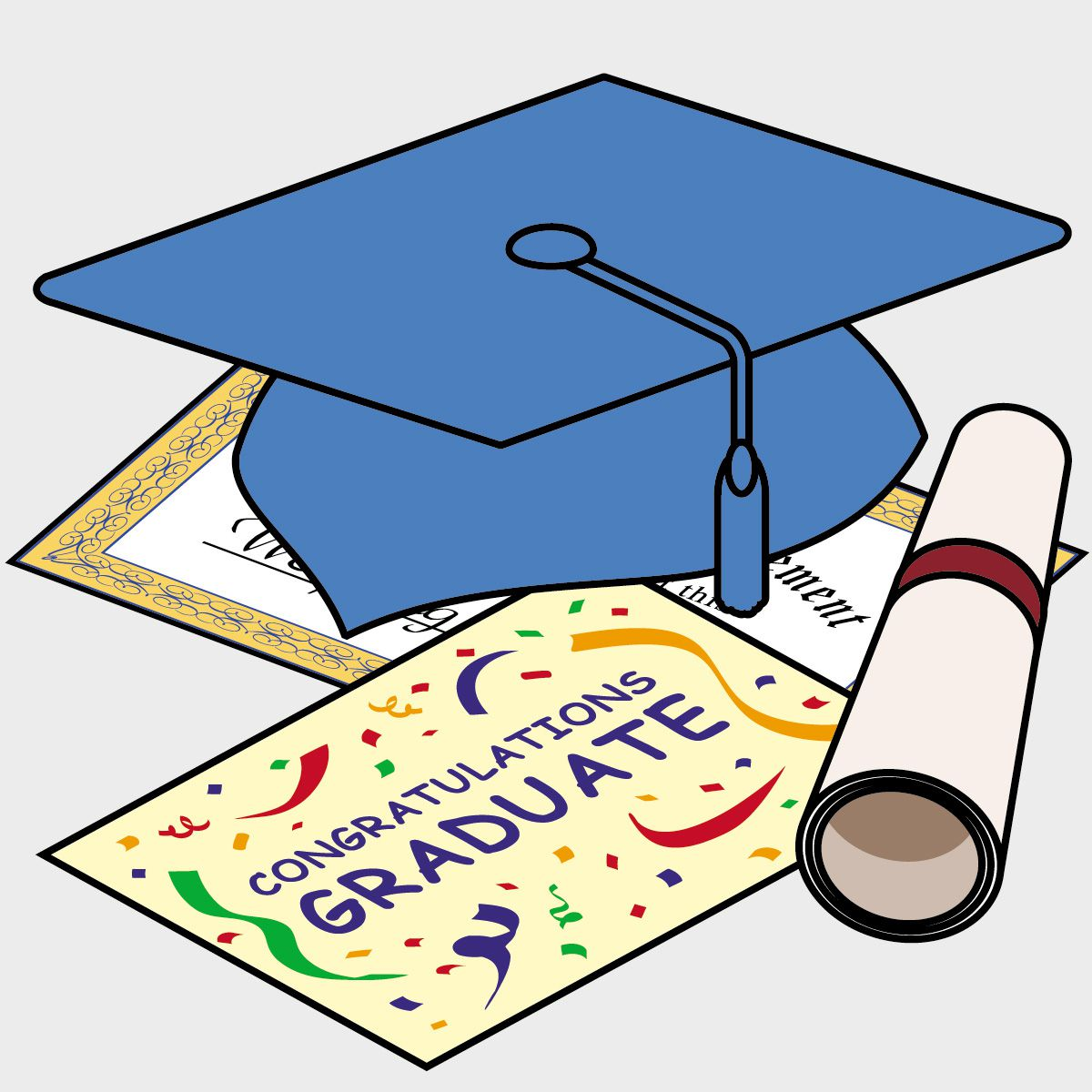 Graduation clip art of a hat and diploma