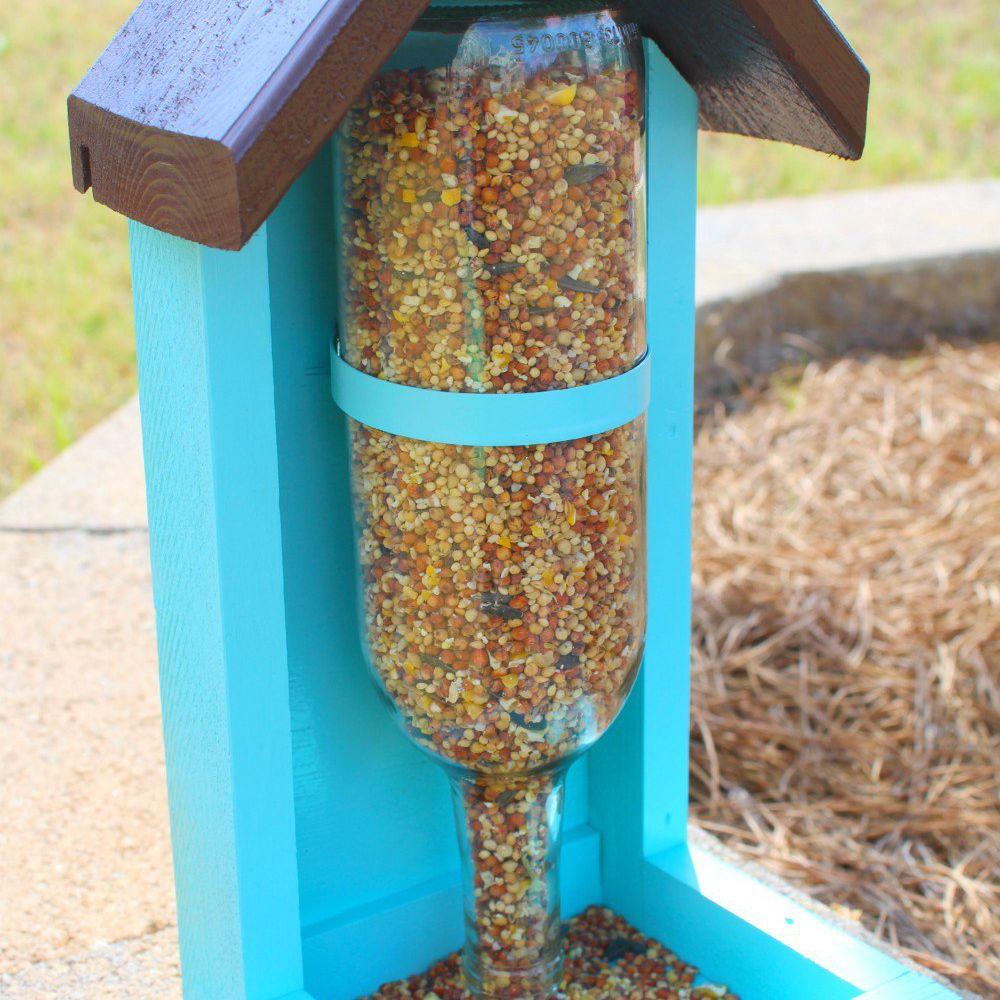 wine bottle bird feeder idea