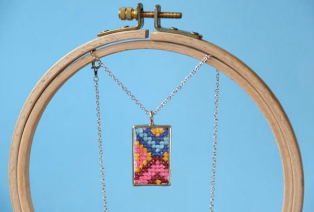 Cross stitch pendant