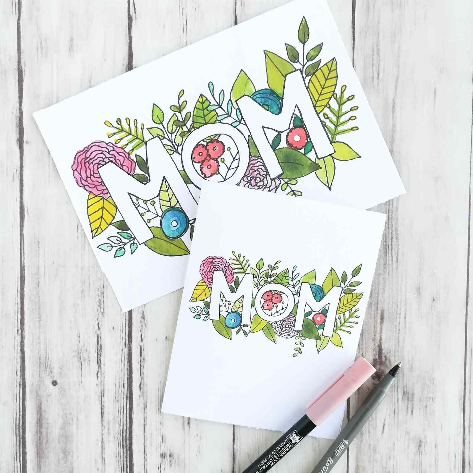 Two mother's day cards on a table