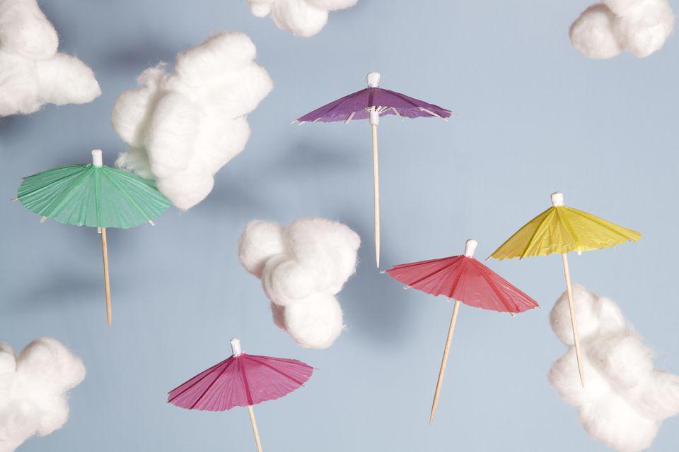 Cotton ball clouds with mini umbrellas
