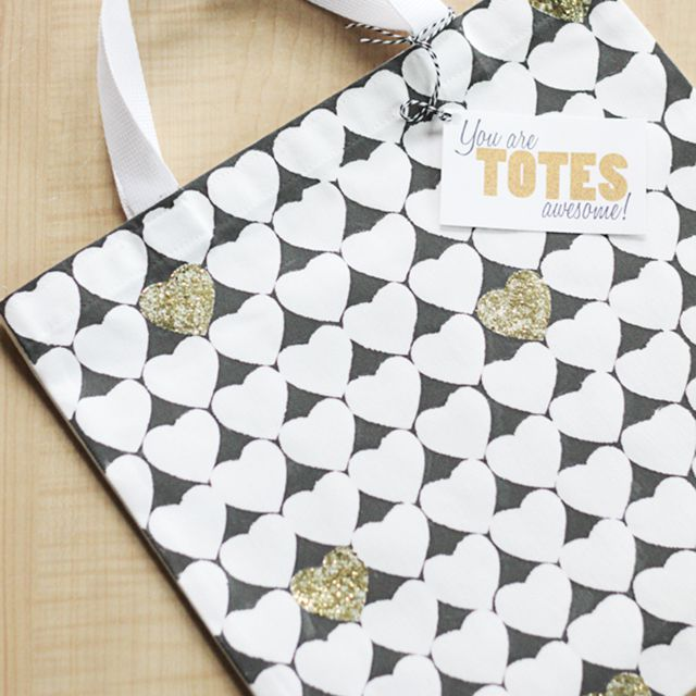 Hand Painted DIY Glitter Heart Tote