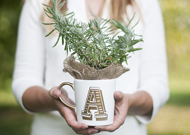 Mug featuring the letter A in gold