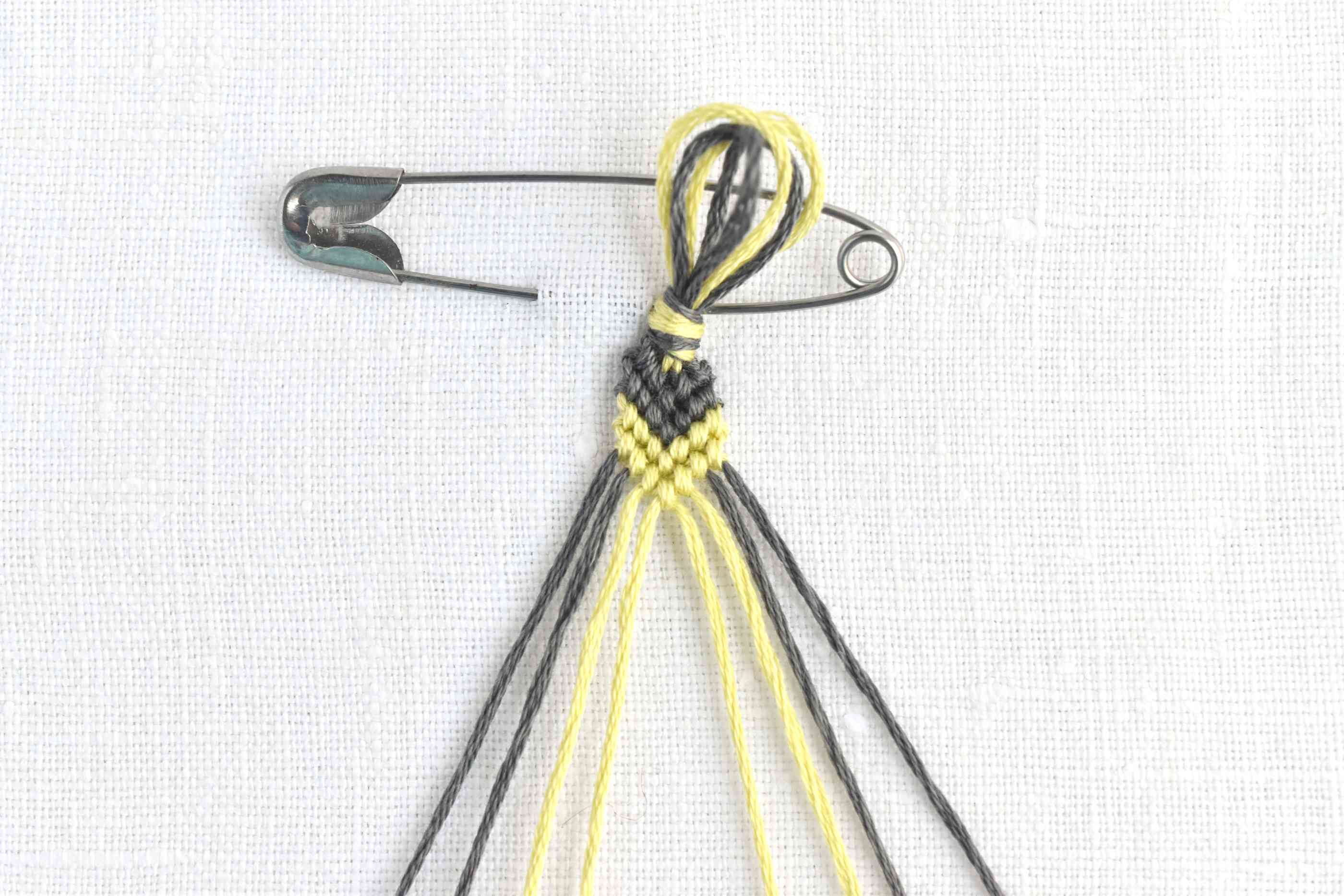 Repeat the process to add rows of knots