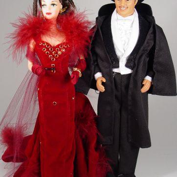 Barbie as Scarlett O'Hara #2 Red Dress and Ken as Rhett c. 1994