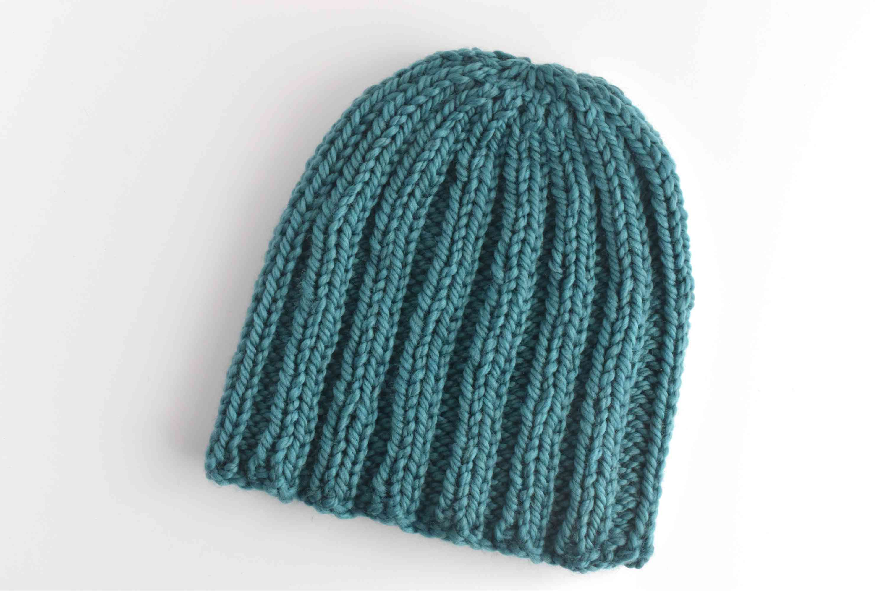 Completed chunky ribbed knit hat