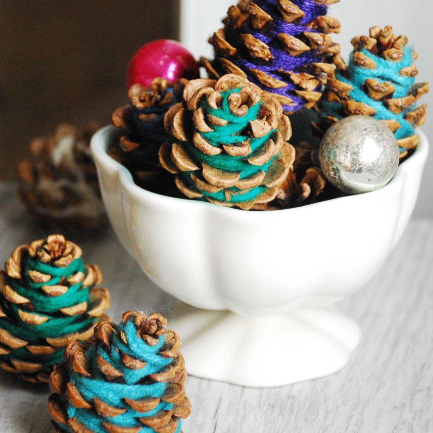 Yarn Wrapped Pine Cone